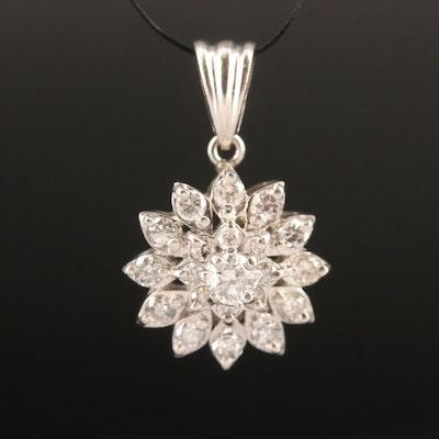 Platinum Diamond Cluster Pendant