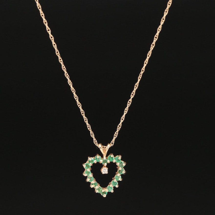 14K Emerald and Diamond Heart Pendant Necklace