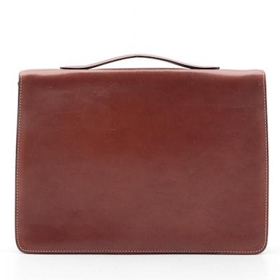 Bally Zippered Portfolio Briefcase in Cognac Leather