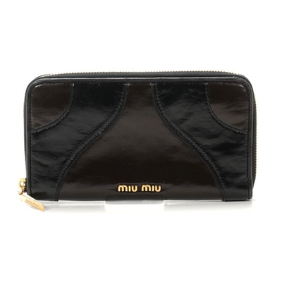 Miu Miu Zip Around Wallet in Black and Brown Patent Leather