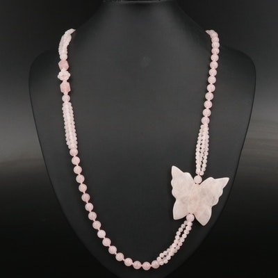 Rose Quartz Asymmetrical Butterfly Beaded Necklace