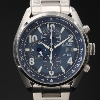 Citizen Eco-Drive Chrongograph Stainless Steel Wristwatch