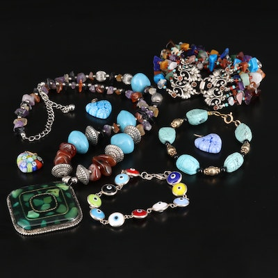 Jewelry Featuring Millefiori Glass, Evil Eye and Sterling Silver Link Bracelet
