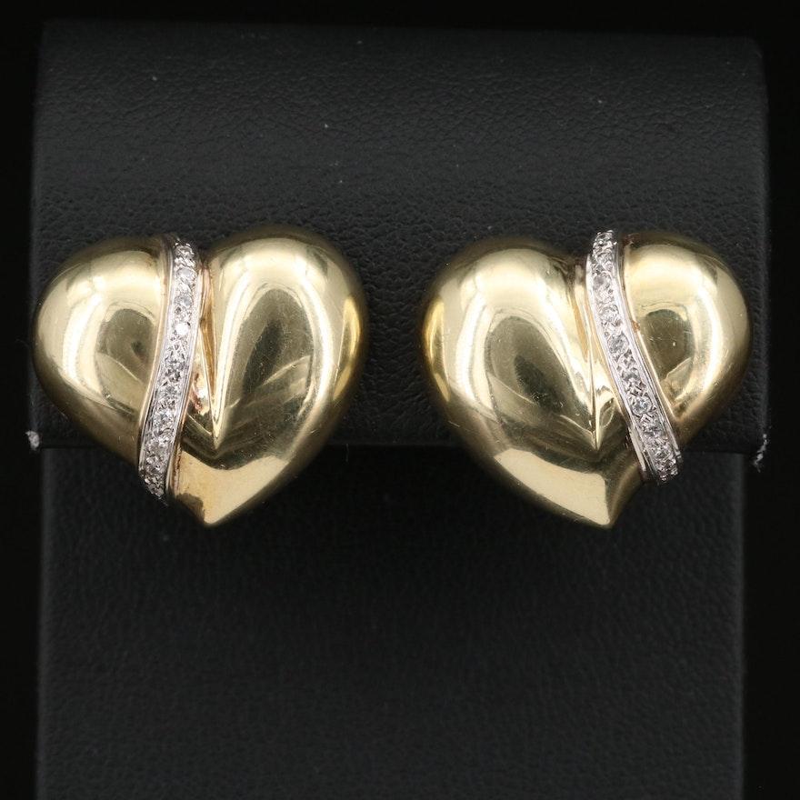 Diamond Accented 14K Puff Heart Earrings