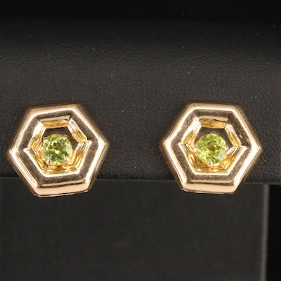 14K Peridot Stud Earrings with Removable Hexagonal Enhancers