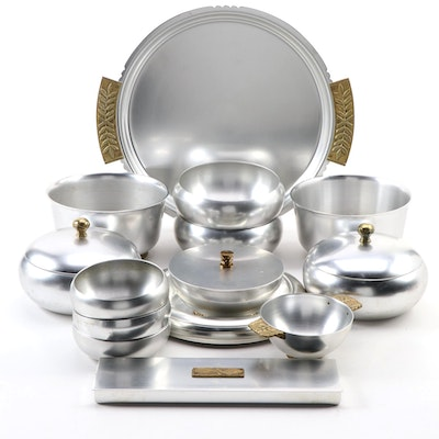 Kensington Aluminum and Brass Tray with Divided Box and Serving Bowls