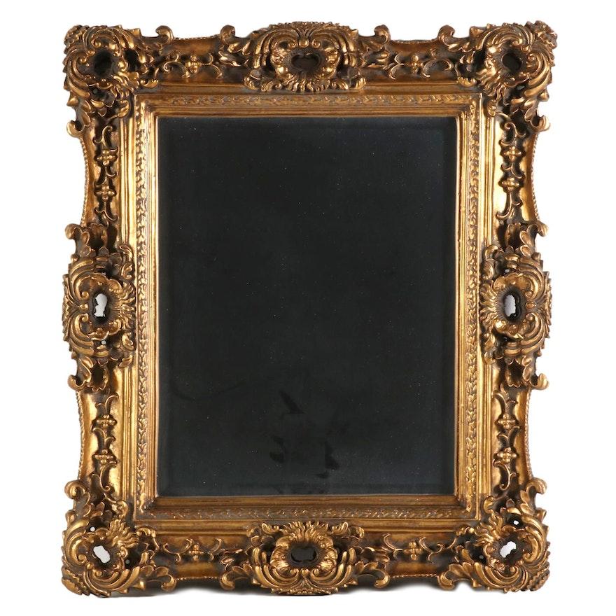 Baroque Revival Aged Gold Tone Wall Mirror, Contemporary