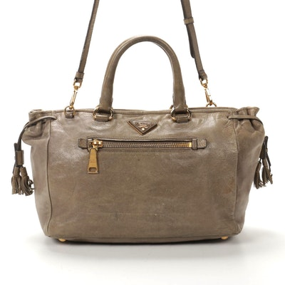 Prada Two-Way Satchel in Taupe Leather with Tassels