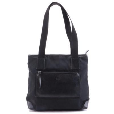 Gucci Black Nylon and Calfskin Leather Tote Bag