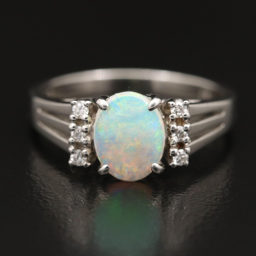 Platinum Opal Diamond Ring