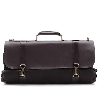 Louis Vuitton Garment Bag in Aubergine Nylon and Taiga Leather