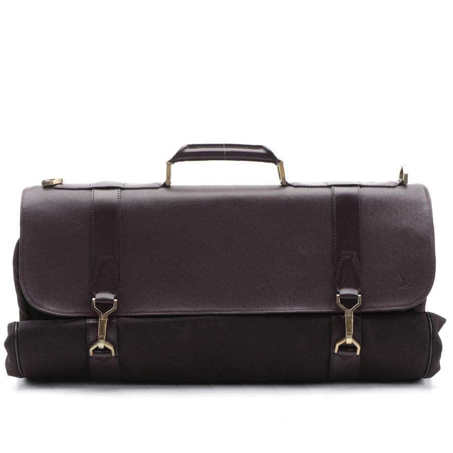 Louis Vuitton Garment Bag in Aubergine Nylon and Taiga Leather