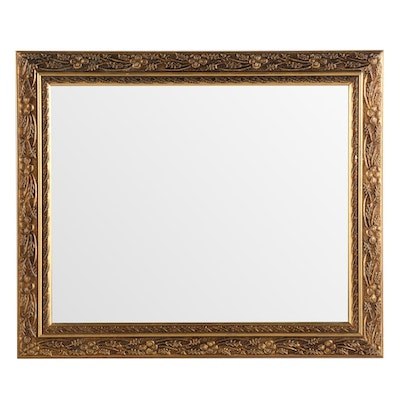 Mirror with Decorative Floral Pattern Giltwood Frame