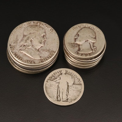 Franklin Silver Half Dollars and Washington Silver Quarters