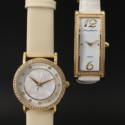 Pair of Glass Crystal Accented Quartz Wristwatches
