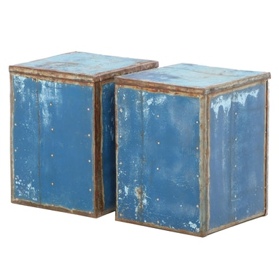 Pair of Industrial Style Painted and Riveted Metal Cube-Form Side Tables