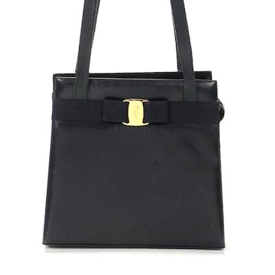 Salvatore Ferragamo Vara Bow Navy Leather Tote Shoulder Bag