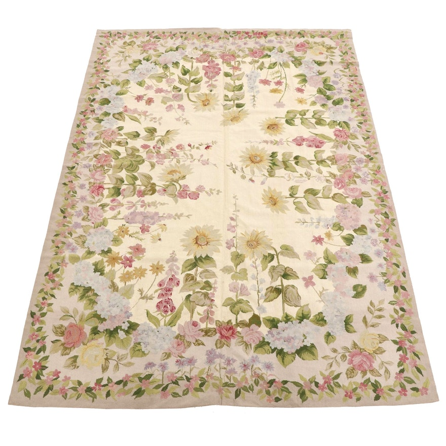 6' x 8'11 Handmade Needlepoint French Aubusson Rug, Late 20th Century
