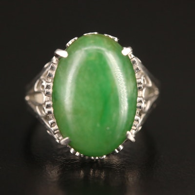Platinum Jadeite Openwork Heart Style Ring