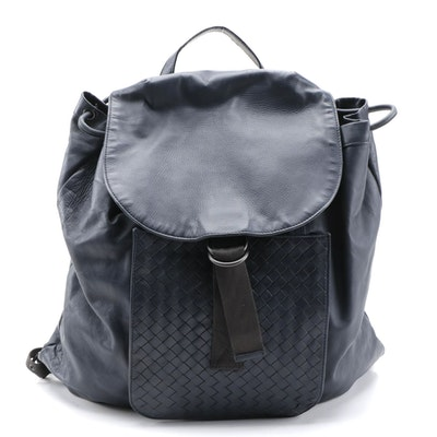 Bottega Veneta Intrecciato Accented Navy Leather Backpack