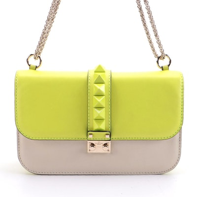 Valentino Rockstud Clutch Crossbody Bag in Color Block Leather