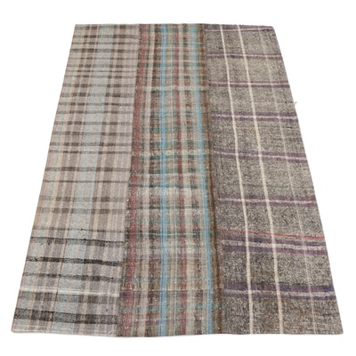 7' x 10'6 Handwoven Turkish Patchwork Striped Flatweave Area Rug