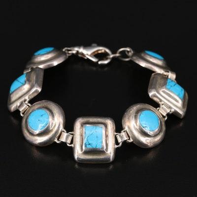 Sterling Faux Turquoise Geometric Link Bracelet
