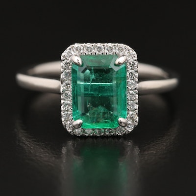 14K 1.60 CT Emerald and Diamond Ring with GIA Report