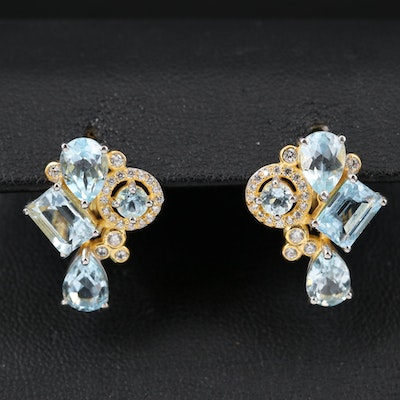 Sterling Topaz and Cubic Zirconia Cluster Earrings