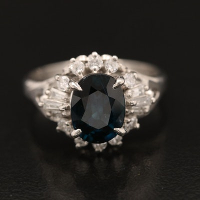 Platinum 1.73 CT Sapphire and Diamond Ring