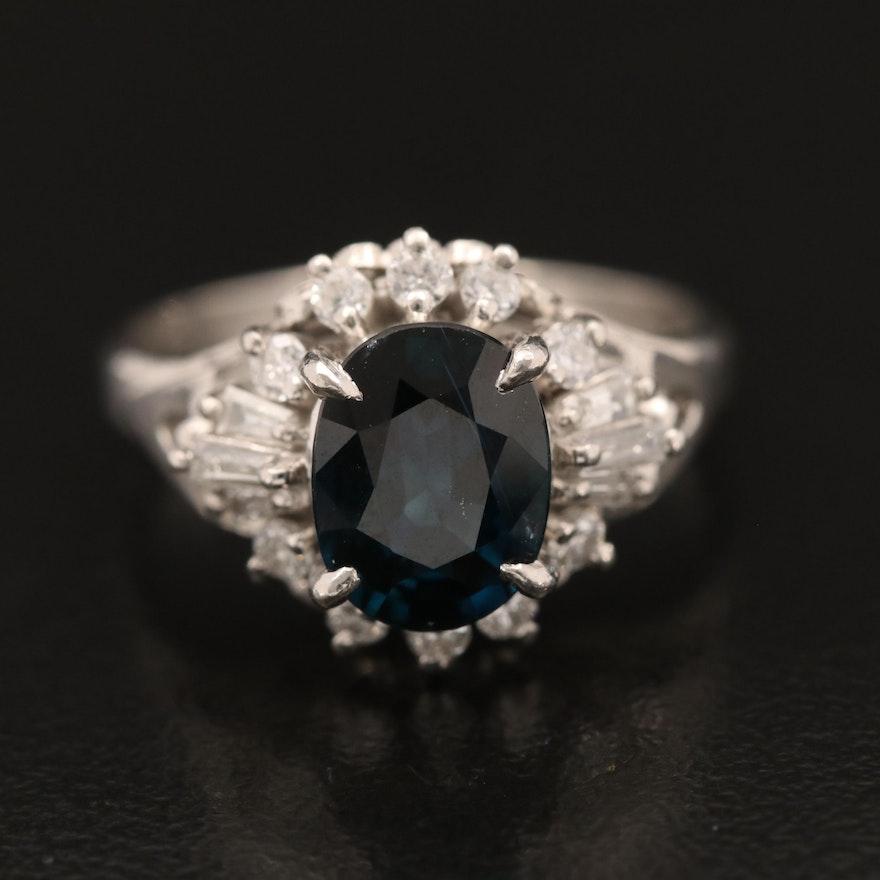 Platinum 1.73 CT Sapphire and Diamond Ring