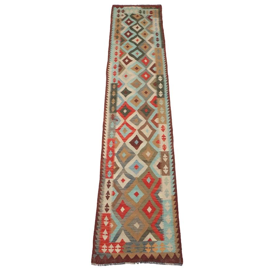 2'8 x 13'2 Handwoven Afghan Kilim Wool Carpet Runner