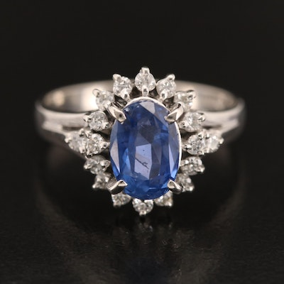 Platinum 2.35 CT Sapphire and Diamond Ring