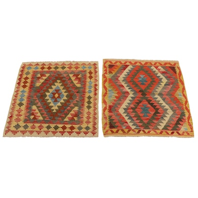 3'3 x 3'6 Handwoven Afghan Kilim Accent Rugs