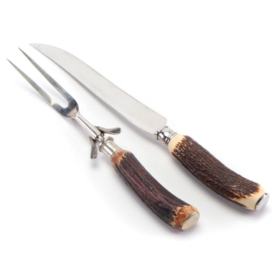 Dexter Stag Antler Handled Stainless Steel Carving Set