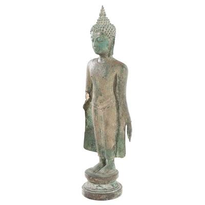 Sukhothai Style Patinated Bronze Standing Buddha