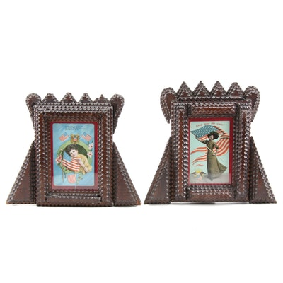 Tramp Art Picture Frames with Patriotic Postcards, Late 19th/ Early 20th C.