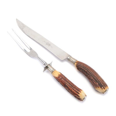 Englishtown Stainless Steel and Antler Handled Carving Set