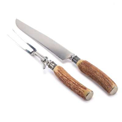 Russell Green River Works Stainless Steel Antler Handled Carving Set