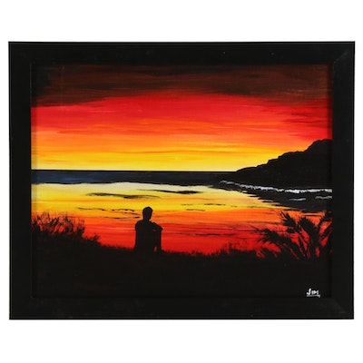 "Jim Vander Wiel Acrylic Painting ""Sunrise Thinker,"" 2020"