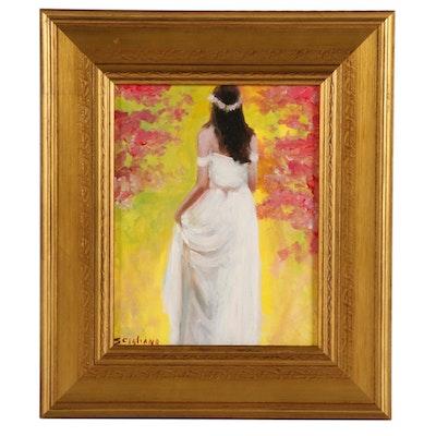 """Miriam Scigliano Oil Painting """"Figure Cherry Blossoms,"""" 2019"""