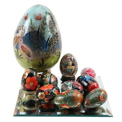 Folk Art Painted Papier-mâché, Wood, and Egg Shell Figurines with Mirror Tray