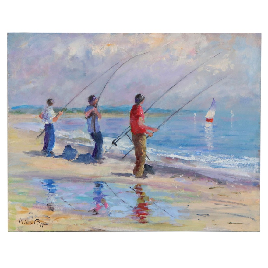 "Nino Pippa Oil Painting ""Anglers on Dieppe Beach,"" 2017"