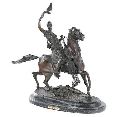 "Bronze Sculpture after Pierre-Jules Mêne ""Mounted Falconer"""