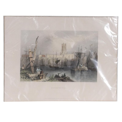 """Color Lithograph after W. Mossman & W.H. Bartlett """"Gloucester,"""" Mid-20th Century"""