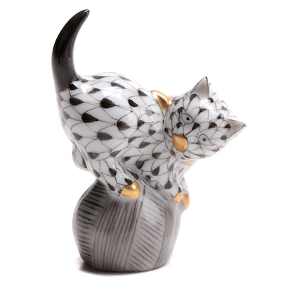"Herend Black Fishnet with Gold ""Mischievous Cat"" Porcelain Figurine, 2000"