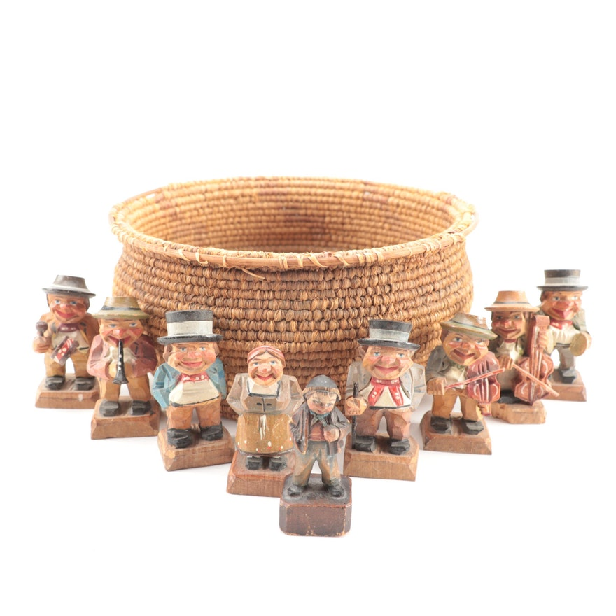 Italian Carved Wood Folk Art Figurines with Woven Basket