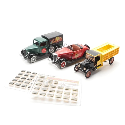 Coca Cola Die Cast Vehicles Including V8 Roadster, 1927 Delivery Truck and More