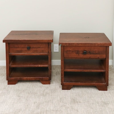 "Pair of Pottery Barn ""Sumatra"" Mahogany-Stained Hardwood Nightstands"