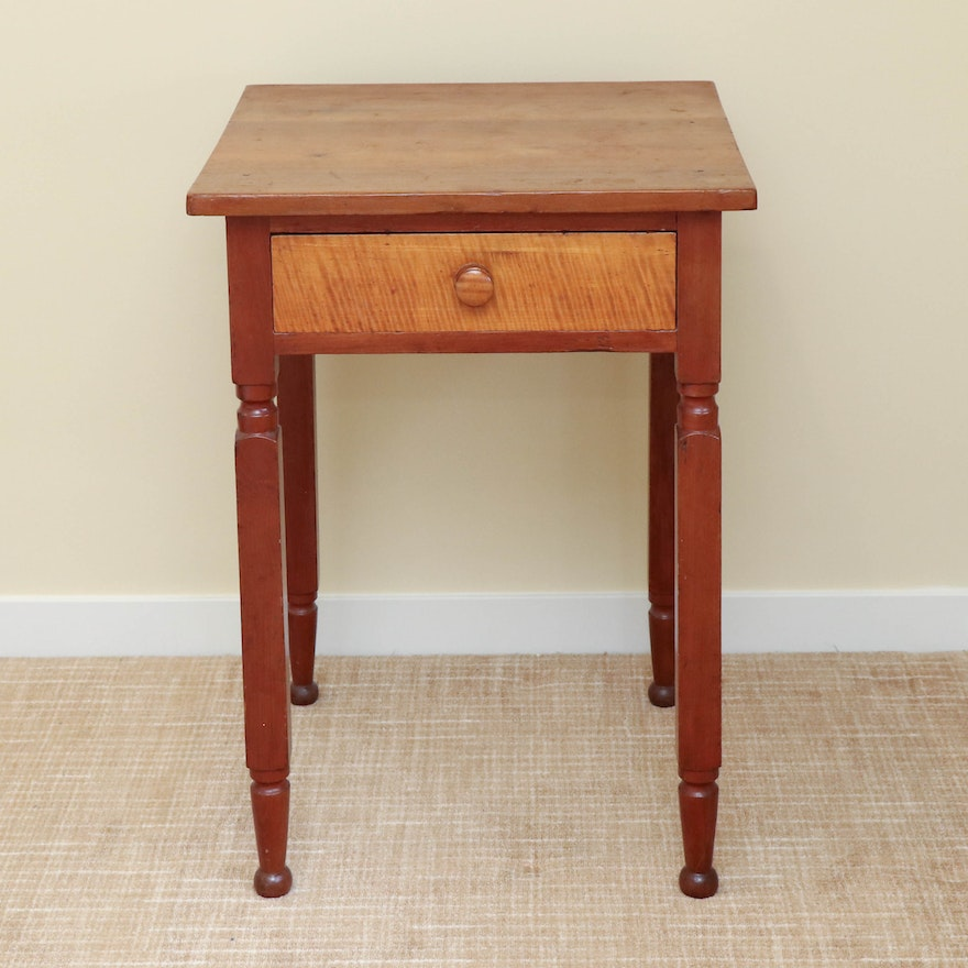 American Primitive Maple and Wood One-Drawer Stand, 19th Century